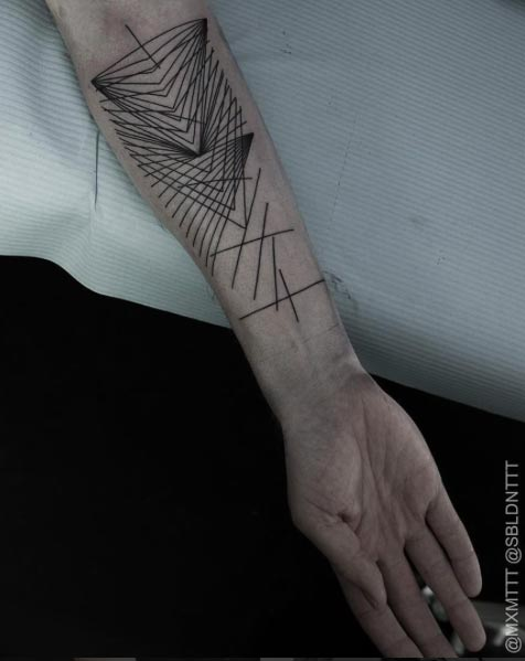 Geometric Linework Tattoo by Maxime Buchi