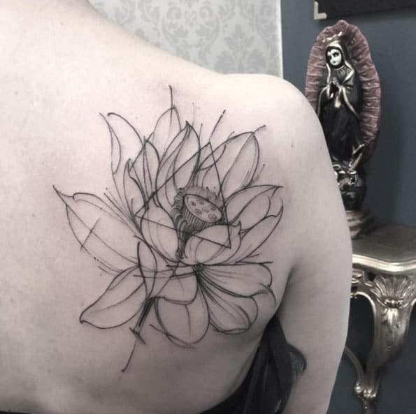Minimalistic Lotus Flower Tattoo by Fredão Oliveira