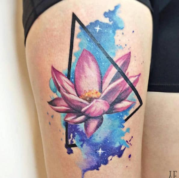Triangular Lotus Flower Tattoo by Yeliz Ozcan