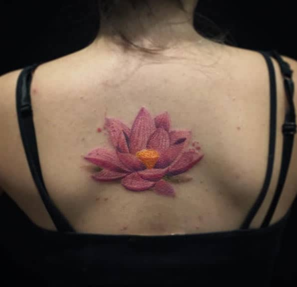 Pink Lotus Flower Tattoo by Felipe Mello