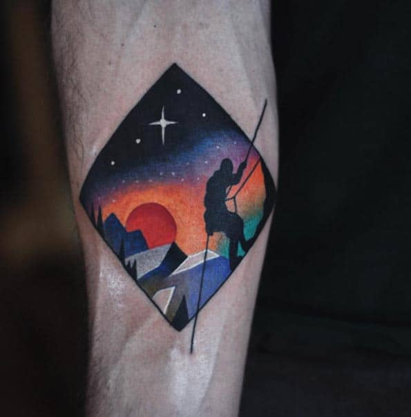 Surrealist Rock Climber Tattoo by David Cote