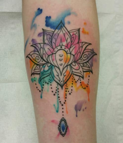 Watercolor Lotus Tattoo by Shelayne Adcock