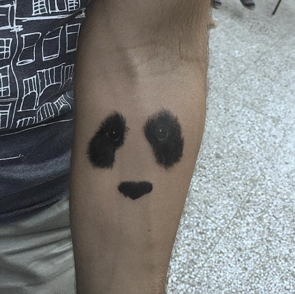 Negative Space Panda Tattoo by Resul Odabas