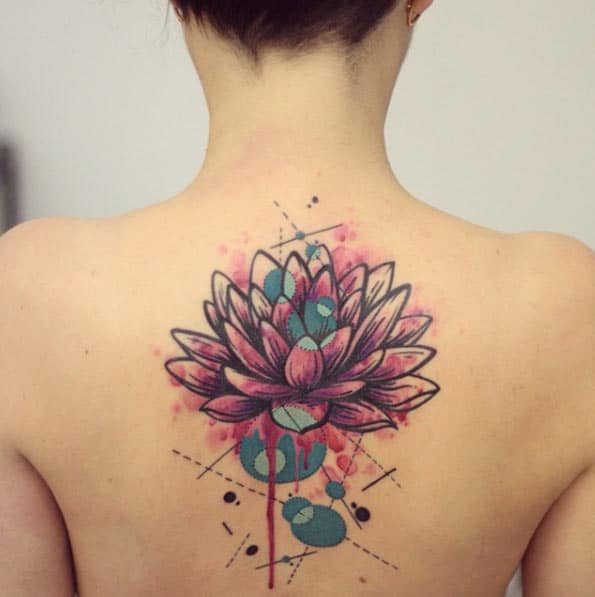 Watercolor Lotus Flower Tattoo by Yanina Viland