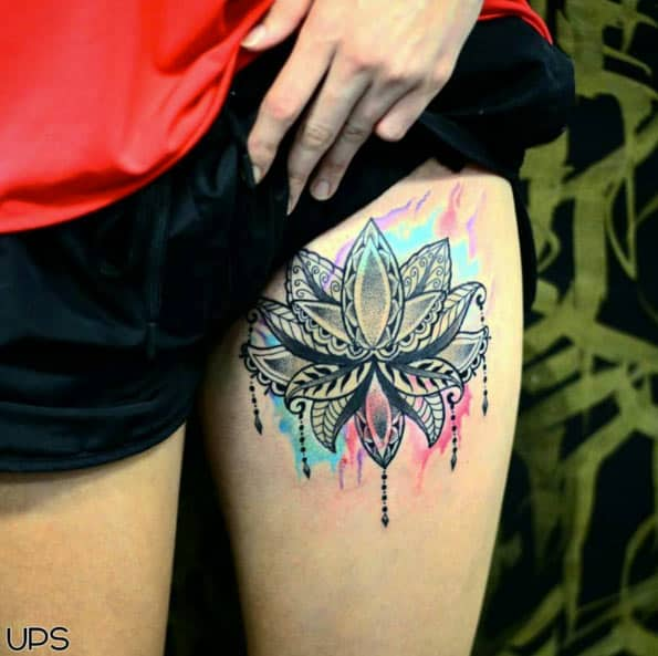 Awesome Lotus Flower Tattoo by Back in Time
