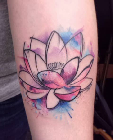 Watercolor Lotus Tattoo by Brandon Smith