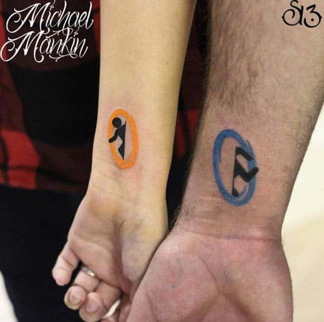 Portal Couple Tattoos by Michael Mankin