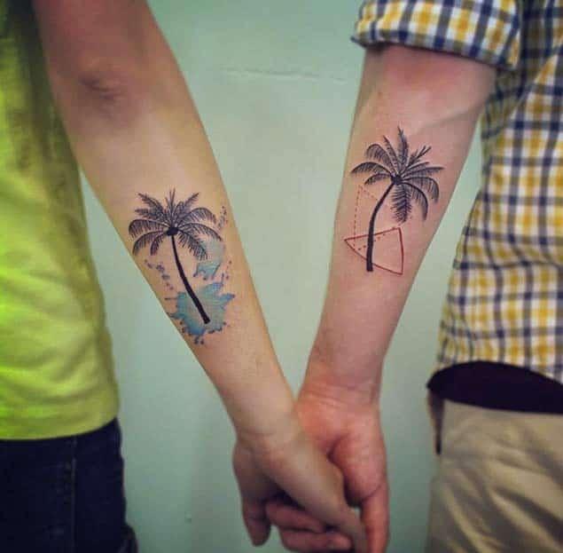 Matching Palm Tree Couple Tattoos by WAZ