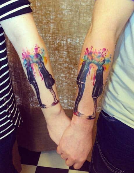 Watercolor Couple Tattoos by Sol Keyboardcat