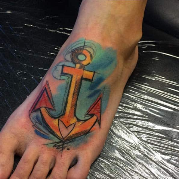 Anchor Tattoo on Foot by Szabi