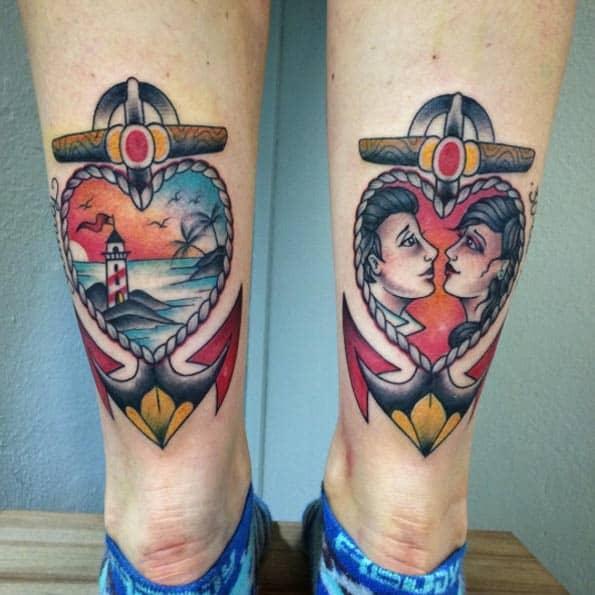 Double Heart-Shaped Anchor Tattoos by Valentina Fusco