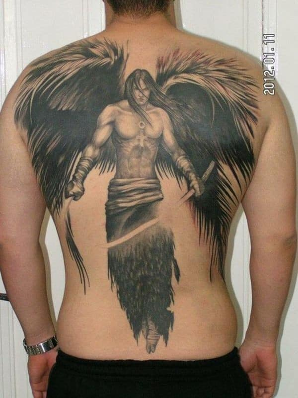 Angel Back Tattoo For Men