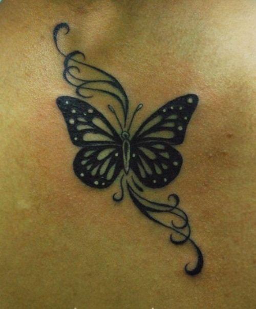 Black Beautiful Butterfly Tattoo with Swirls