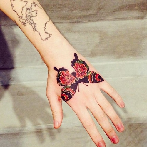 Butterfly with Red Flower Tattoo Designs