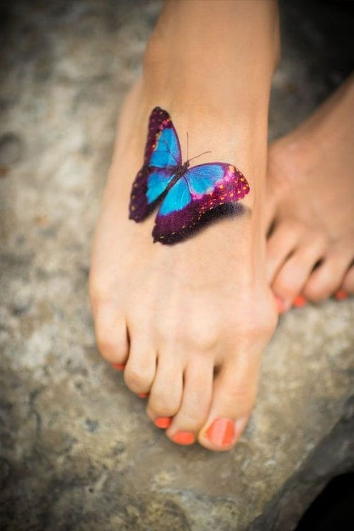Colorful Butterfly Foot Tattoo