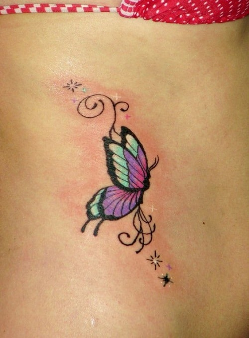 Colorful Butterfly Side Tattoo