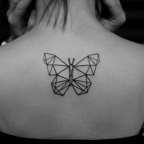Geometric Butterfly on Back Tattoos