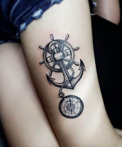 Nautical Thigh Tattoo by Coffee Mun