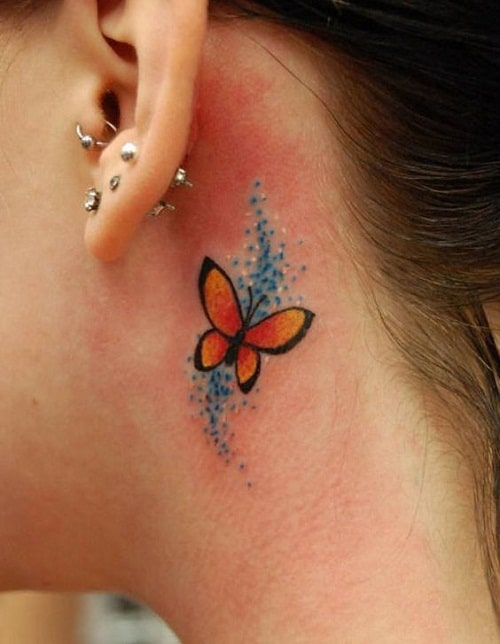 Orange Butterfly Tattoo with Blue Sparkles
