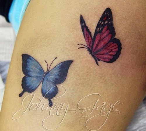 Pink and Blue Small Butterfly Tattoos