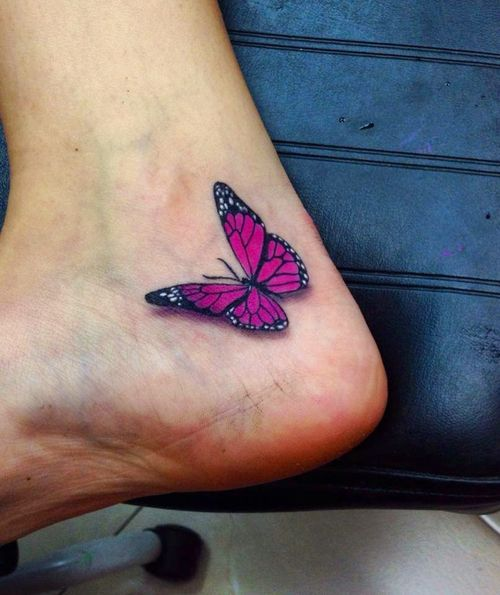 Pink Butterfly Ankle Tattoo