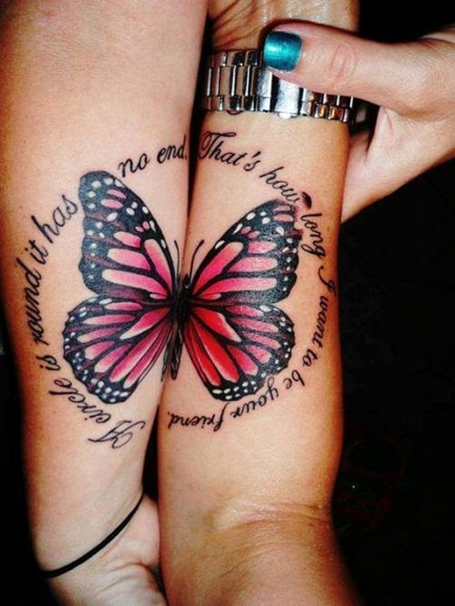 Pink Butterfly with Quote Tattoo for Best Friends