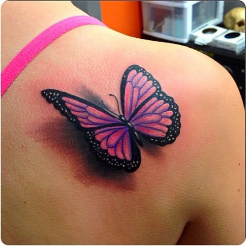Pink Butterfly with Shadow Tattoo