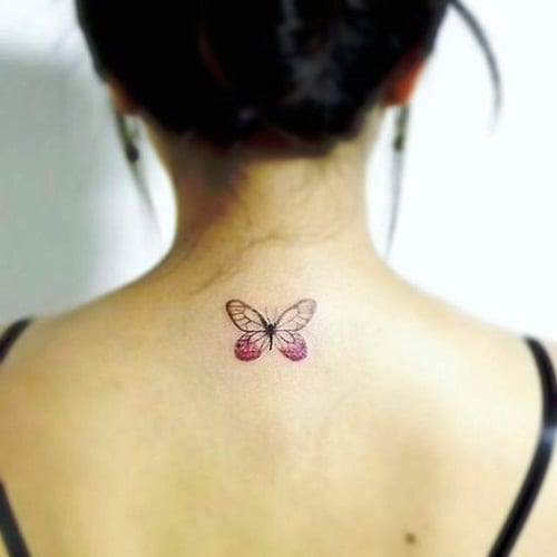 Pink Upper Back Tattoo Butterfly