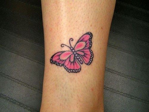 Pink Wrist Butterfly Tattoo