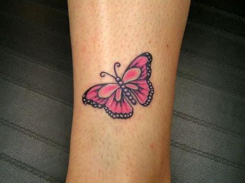 Pink Wrist Butterfly Tattoo