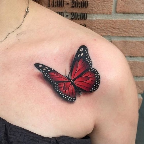 Red Butterfly on Chest Tattoo