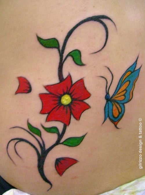 Red Flower with Small Blue Butterfly Tattoo