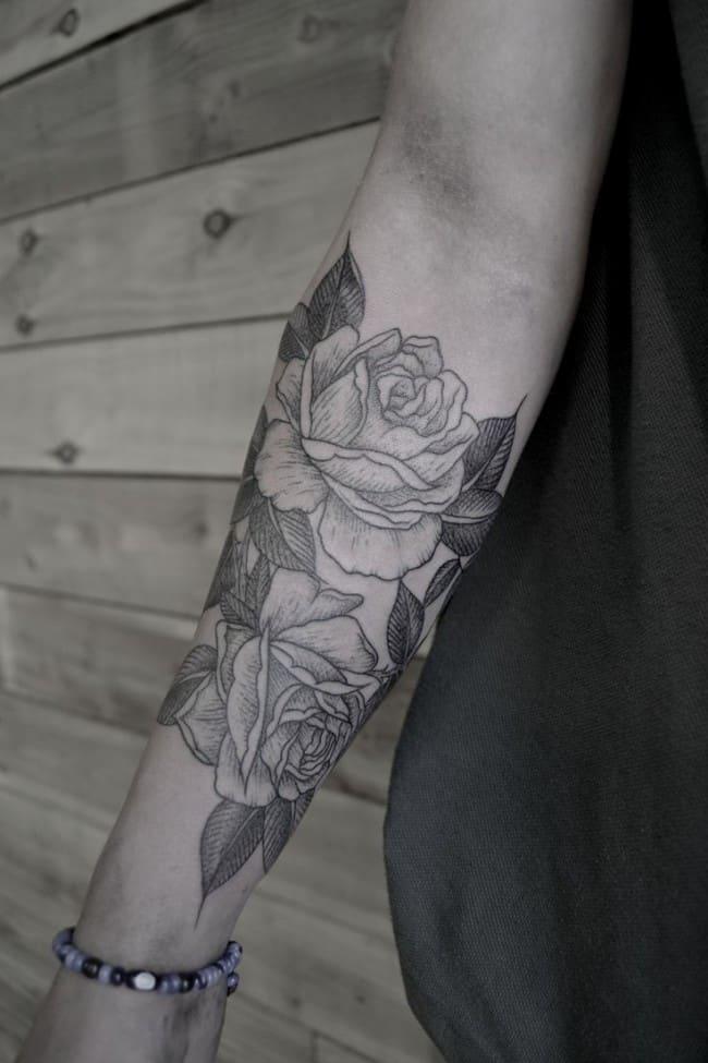 Тату розы на руке фото