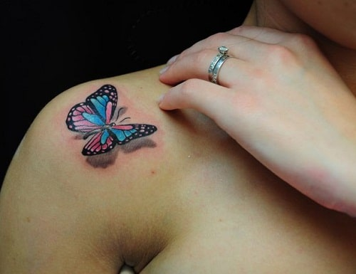 tattoo of a butterfly on shoulder