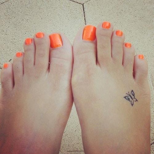 Small Beautiful Butterfly on Foot Tattoo