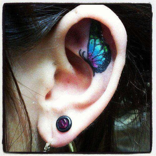 Small Blue Tattoo Butterfly on Ear