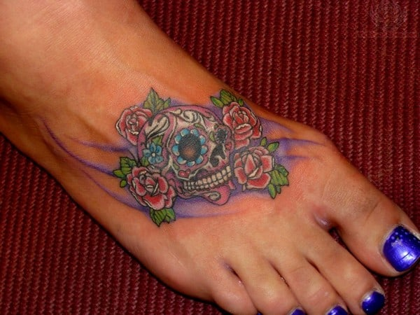 Sugar Skull And Red Roses Tattoos On Foot