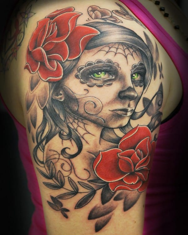 Sugar Skull Red Owl And Rose Tattoo Designs