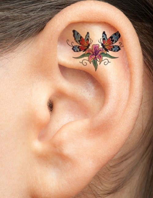 Two Butterflies and One Flower Ear Tattoo