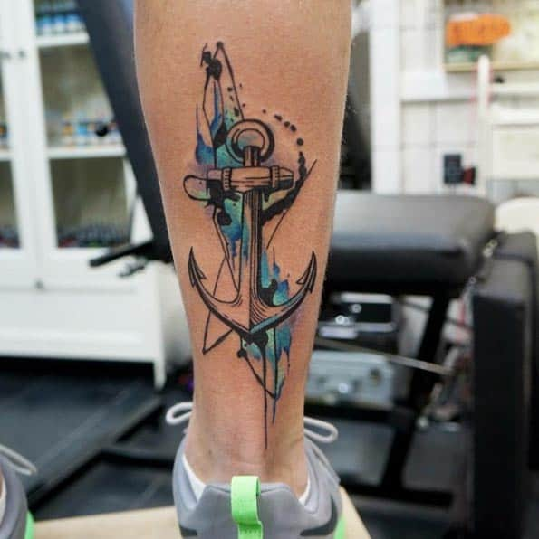Watercolor Anchor Tattoo by Dynoz