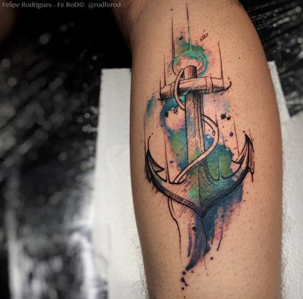 Watercolor Anchor Tattoo on Calf by Felipe Rodrigues Fe Rod