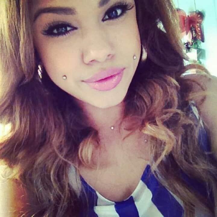 Beautiful Cheek Piercing For Girls