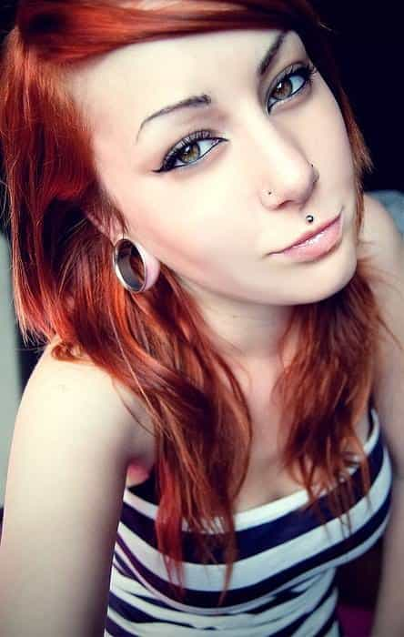 Beautiful Girl With Nose And Medusa Piercing