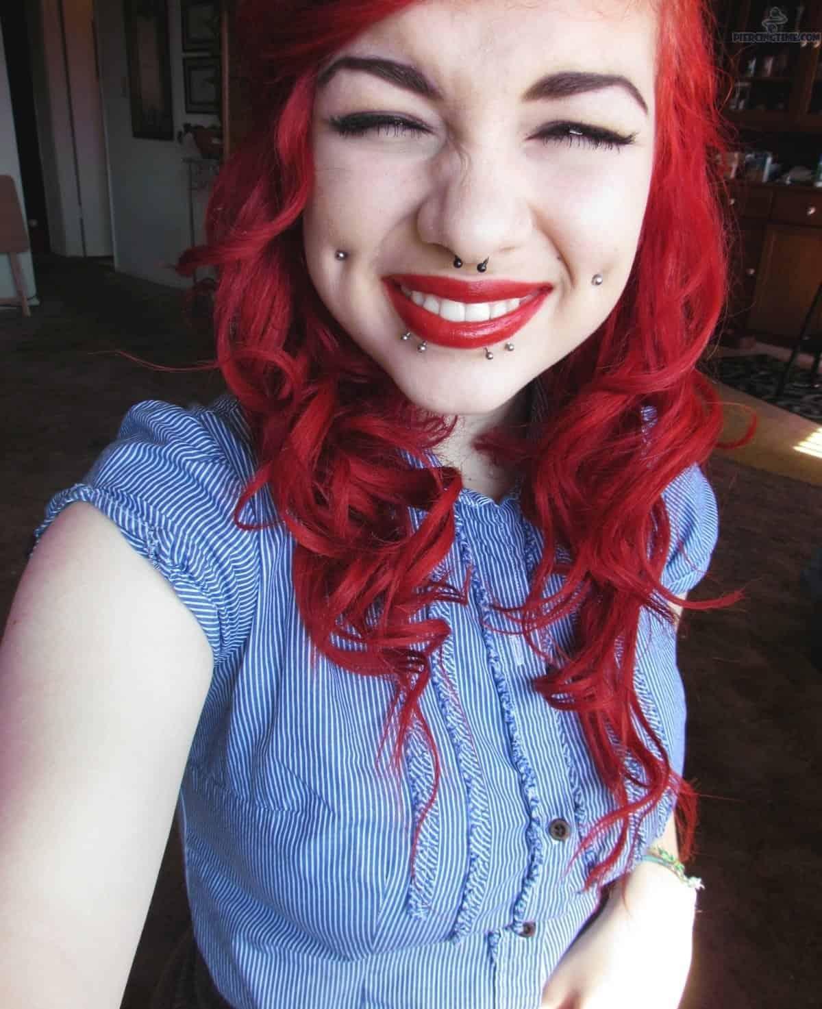Very Cute Girl With Dimple Cheek Piercing