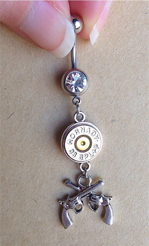 Belly Button Ring with guns and bullet casing