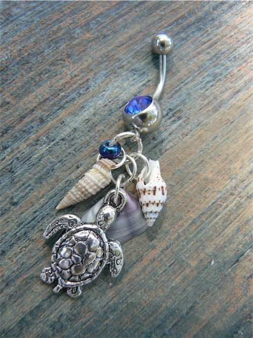 Cute Seashell and Sea Turtle Belly Ring