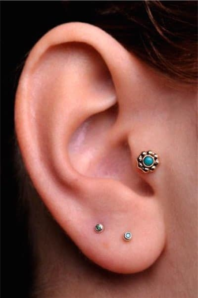 Tragus 14K Gold filled 5mm Flower with 2mm genuine Turquoise Stone