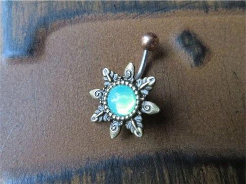 Mint Green Opal Starburst Belly Button Ring
