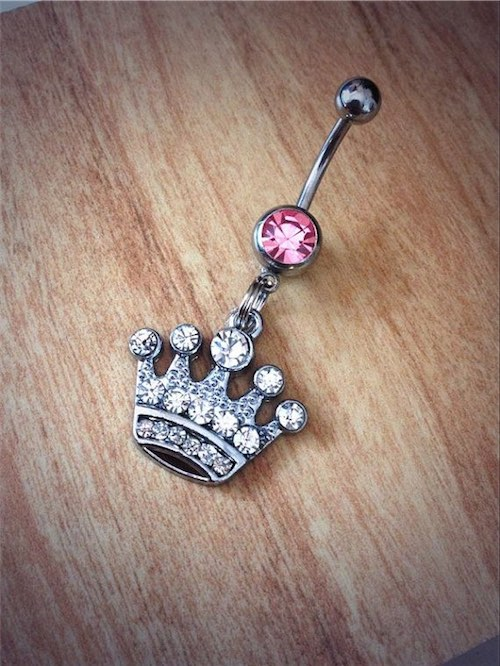Rhinestone Crown Belly Ring