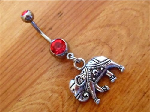 Belly button Ring Silver Elephant with Red Gem